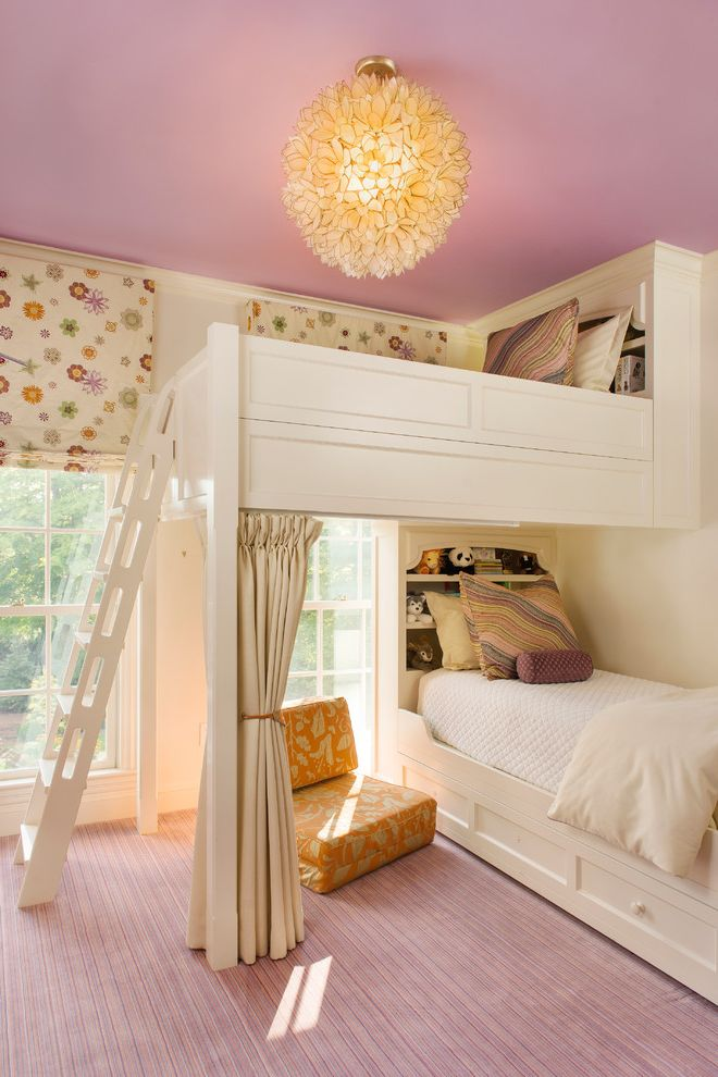 Carpet World Bismarck Nd with Traditional Kids Also Built in Buk Beds Built in Shelving Bunk Beds Flower Pendant Light Flower Print Curtains Pink Carpet Pink Ceiling White Bed