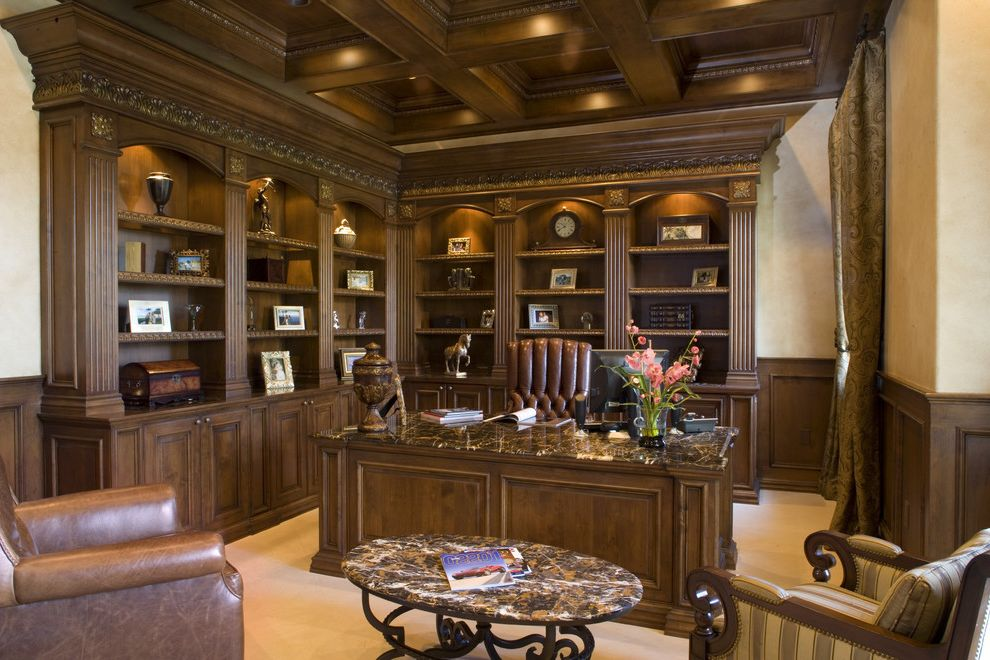 Carpets by Dennis   Traditional Home Office Also Bookshelves Built in Bookcase Carpet Coffered Ceiling Dark Wood Desk Leather Chair Light Carpet Stone Table Table Wainscoting Wood Wood Ceiling Wood Desk