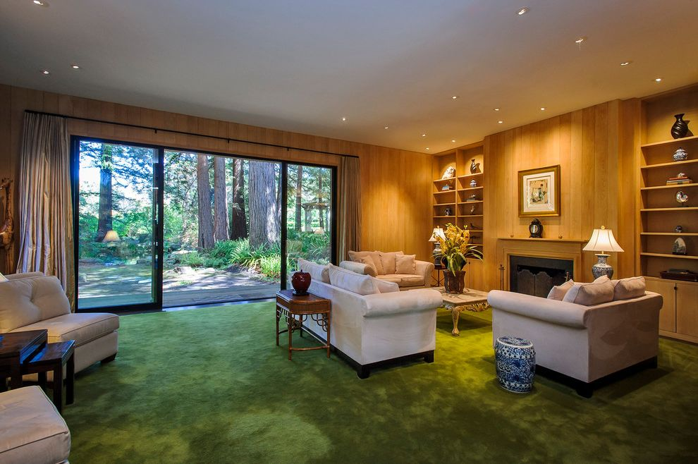 Carpets by Dennis   Traditional Living Room Also Built in Bookshelves Carpeting Curtain Panels Fireplace Glass Green Redwood Trees Seating Area Sliding Glass Doors Window Treatment Wood Paneling Woods