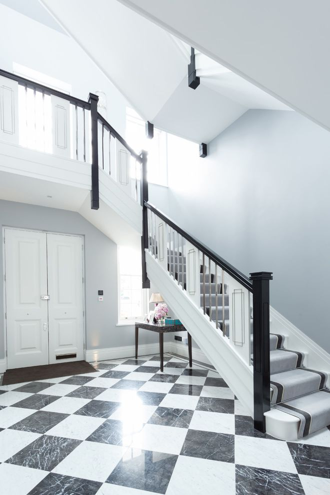Carpets by Dennis   Traditional Staircase  and Black and White Black and White Entrance Hall Black Banister Checkered Flooring Grey Carpet Runner Grey Stair Runner Grey Staircase Carpet Grey Walls Monochrome Monochrome Hallway