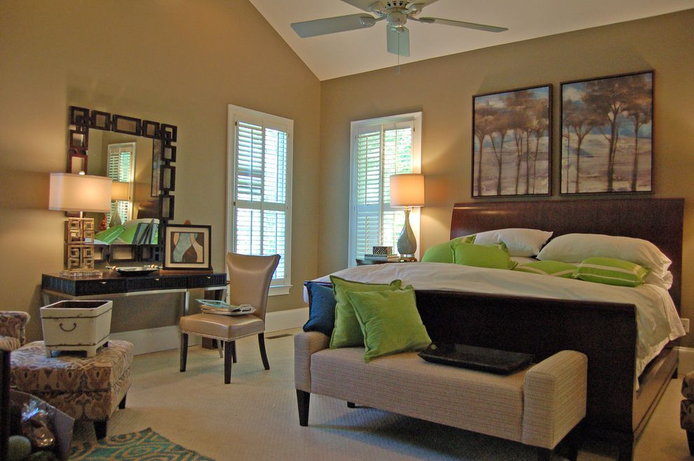 Carpets of Dalton with Traditional Bedroom  and Bed Bench Cabinetry Carpet Floors Carpets of Dalton Ceiling Fan Furniture of Dalton Green Pillows Home Remodel Leather Chair Master Bedroom Plantation Shutters Vaulted Ceilings