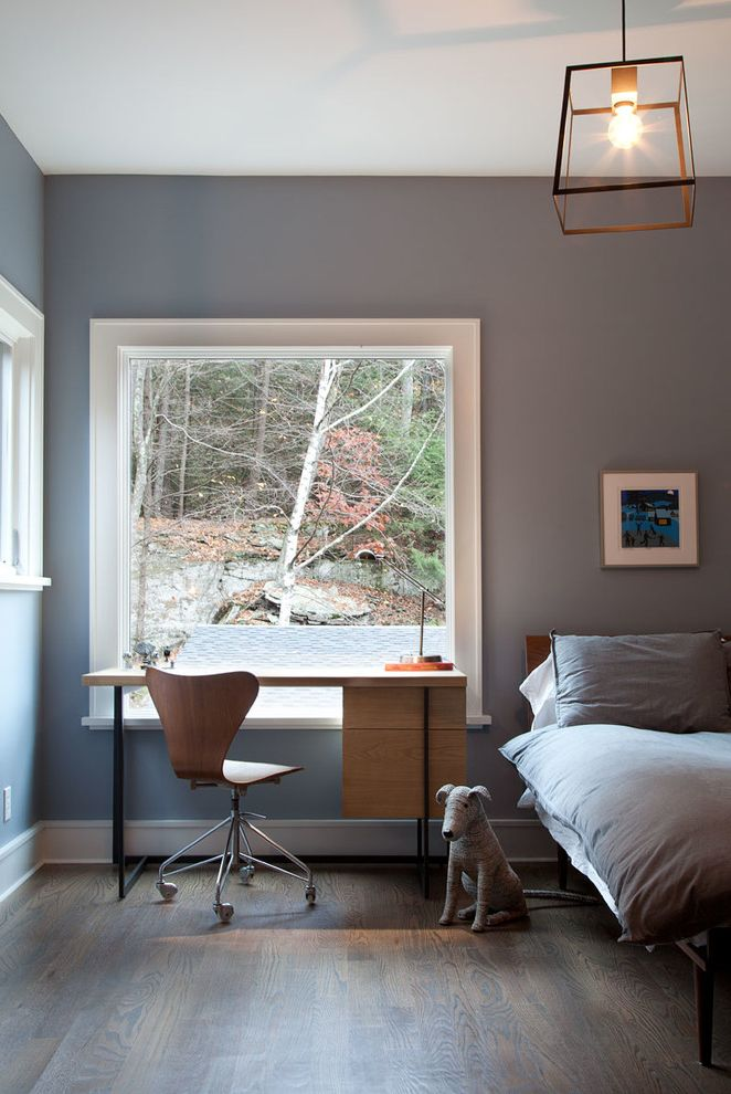 Case Study Planters   Farmhouse Bedroom Also Bedroom Desk Blue Bedroom Boys Bedroom Desk Dog Exposed Bulb Hardwood Floors Large Window Light Gray Mid Century Desk Office Chair Picture Window Series 7 Chair