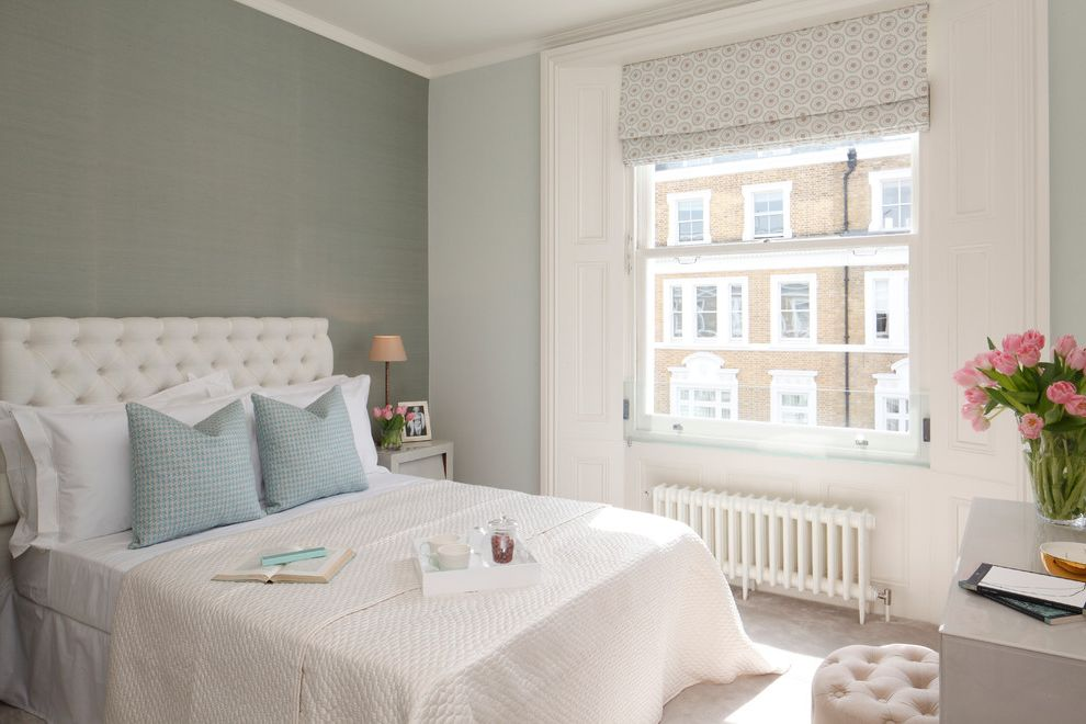 Cast Iron Headboard   Transitional Bedroom Also Bedding Bedroom Radiator Blue Cushions Roman Shade Tufted Headboard White Headboard White Radiator Window