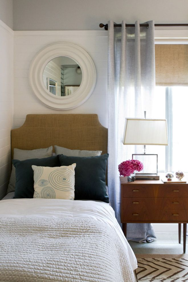 Cast Iron Headboard with Contemporary Bedroom  and Black Burlap Gray Nightstand Pillow Quilt Round Mirror Wainscott White Window Treatment Wood Zigzag