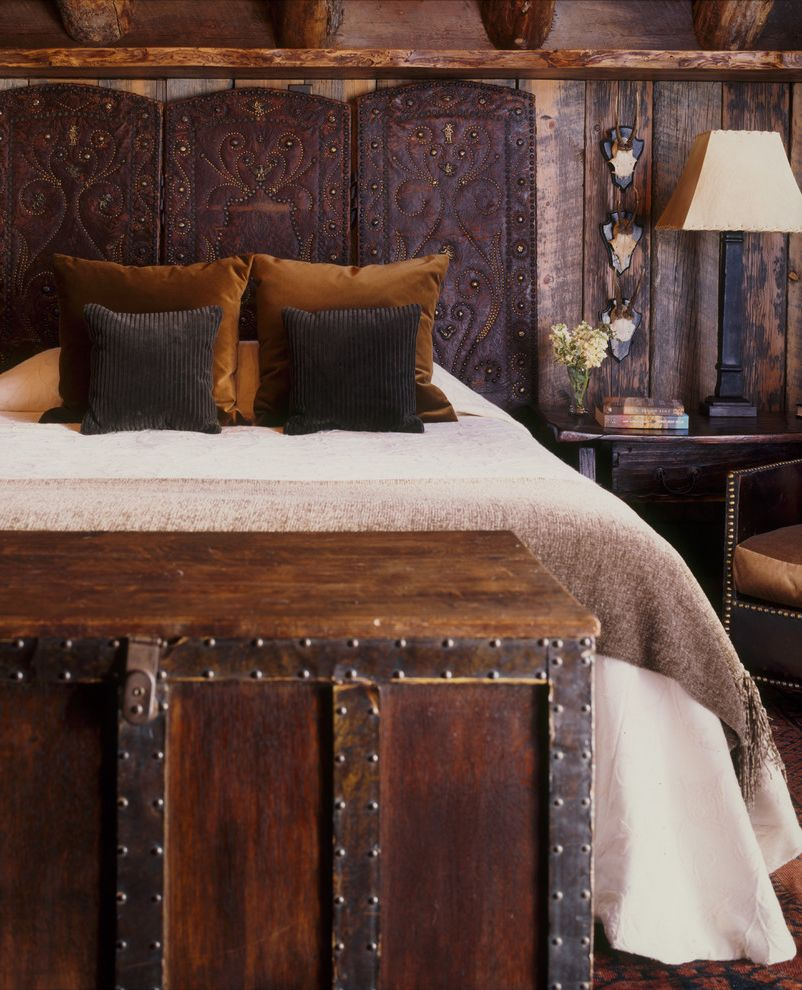 Cast Iron Headboard with Rustic Bedroom Also Bedding Cabin Chest Guest Bedroom Headboard Lodge Rustic Side Table Table Lamp Timber Timber Wall Wall Wood Beam