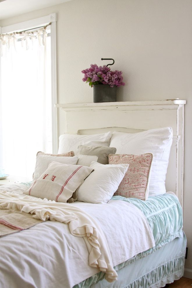 Cast Iron Headboard with Shabby Chic Style Bedroom  and Bedskirt Decorative Pillows Dust Ruffle French Country Green Duvet Monogram Reclaimed Furniture Rustic Shabby Chic Throw Pillows White Bed White Wood Wood Headboard Wood Trim