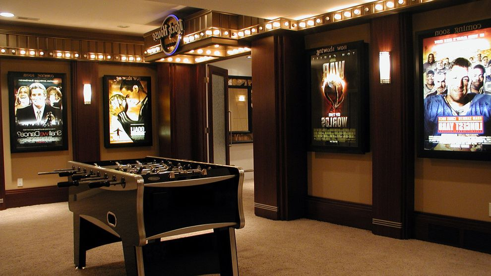 Castle Rock Theater   Contemporary Home Theater  and Foosball Table Game Room Home Theater Movie Posters Recreation Room Sconce Wall Art Wall Decor Wall Lighting