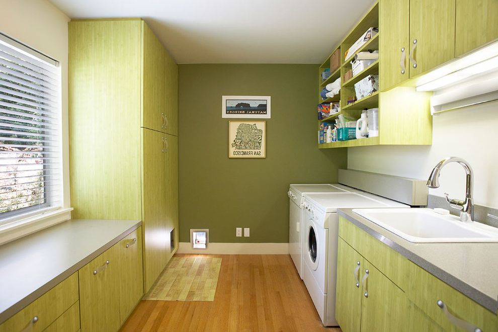Cat Door for Window   Contemporary Laundry Room Also Beige Wall Dryer Green Cabinets Green Drawers Green Wall Open Shelves Open Shelving Under Cabinet Lighting Washer White Sink White Utility Sink Wood Floor