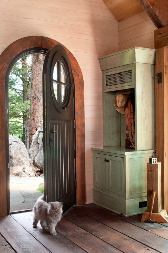 Cat Door For Window With Rustic Entry Also Arch Doorway Cabinet Cottage Cozy  Foyer Mountain Round