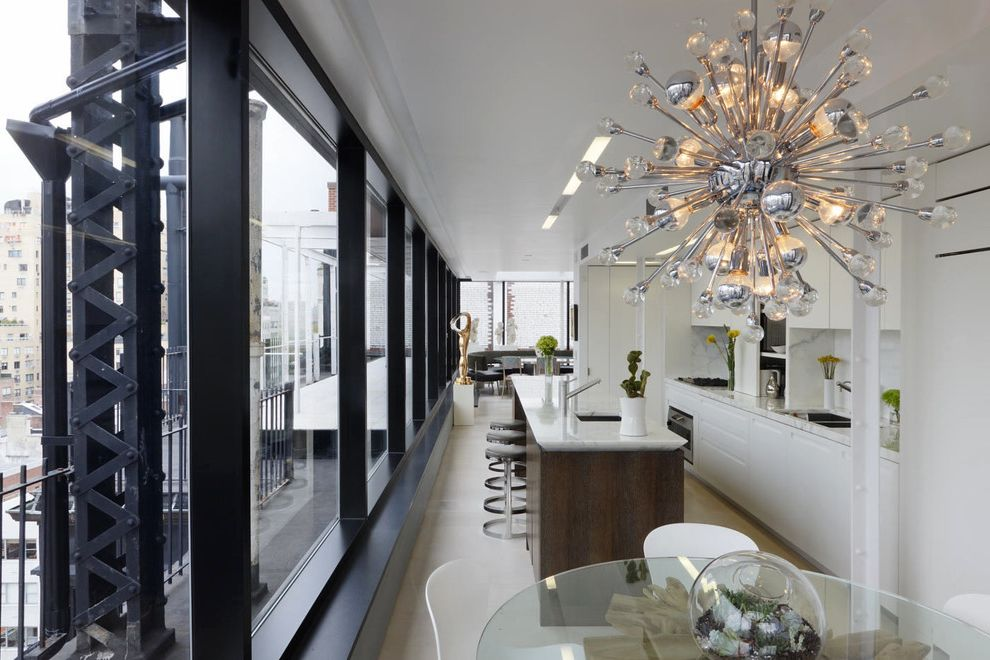 Catch Restaurant Nyc with Industrial Kitchen Also Breakfast Bar Eat in Kitchen Glass Dining Table Glass Wall Kitchen Island Modern Chandelier Penthouse Sputnik Chandelier Steel Urban White Kitchen