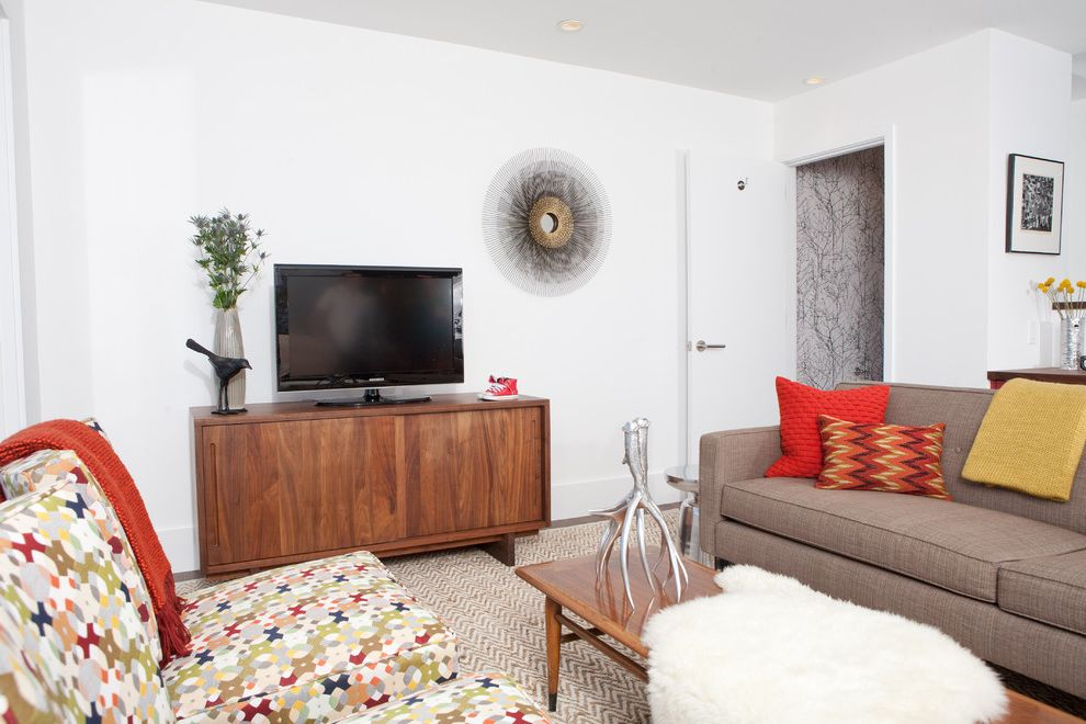 Cb2 Media Console with Midcentury Living Room Also Area Rug Coffee Table Media Cabinet Print Red Red Lacquer Seating Area Sheepskin Sofa Starburst Mirror Tv Wall Paper Walnut White