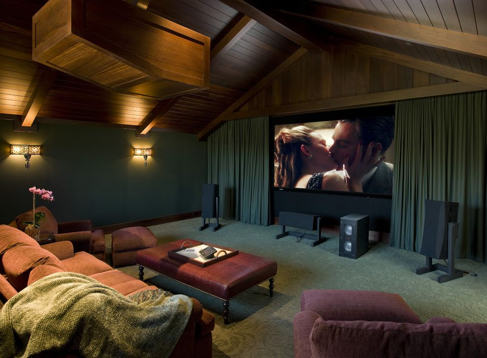 Cedar Falls Theater   Beach Style Home Theater  and Blue Walls Carpeting Cinema Curtain Panels Home Thaeter Media Room Plush Upholstery Projector Red Sofa Seating Area Sound System Vaulted Ceiling Wall Sconce Wood Beams