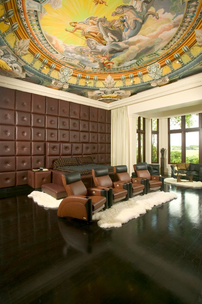 Cedar Falls Theater   Traditional Home Theater Also Area Rug Bay Window Brown Leather Cinema Seating Curtain Panels Dark Stained Wood Floor Day Bed Domed Ceiling Media Mural Painted Ceiling Tufted Leather Wall