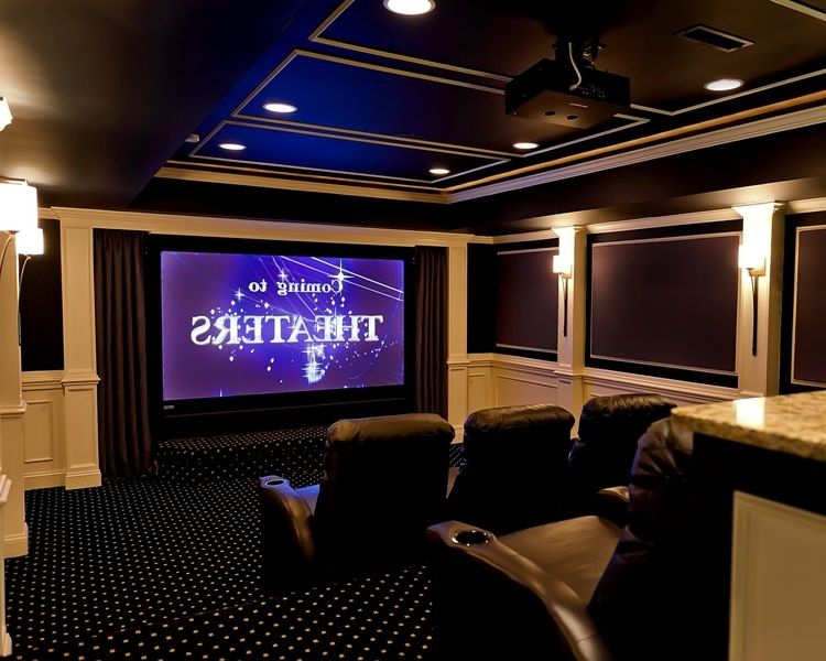Cedar Falls Theater with Traditional Home Theater  and Traditional