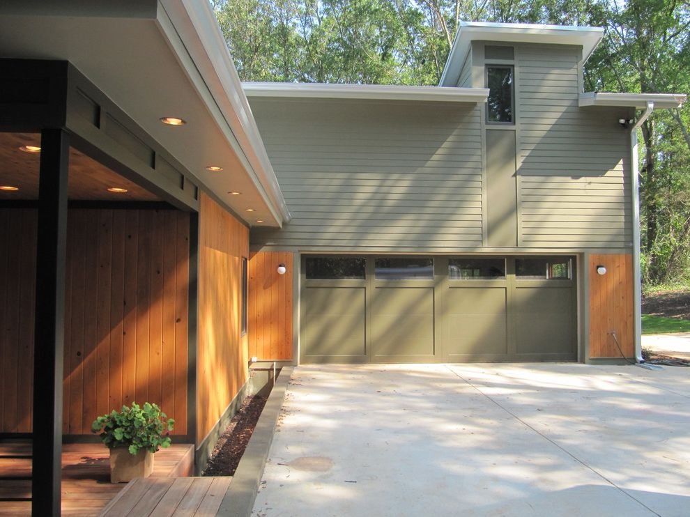 Cedar Park Garage Doors with Contemporary Exterior  and Flat Roof Front Entrance Garage Door Green Green Garage Door Porch Siding Wood Wood Siding