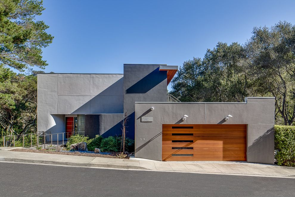 Cedar Park Garage Doors with Modern Exterior  and California Cedar Curb Appeal Driveway Garage Modern Portola Valley Railing Stainless Steel Stucco