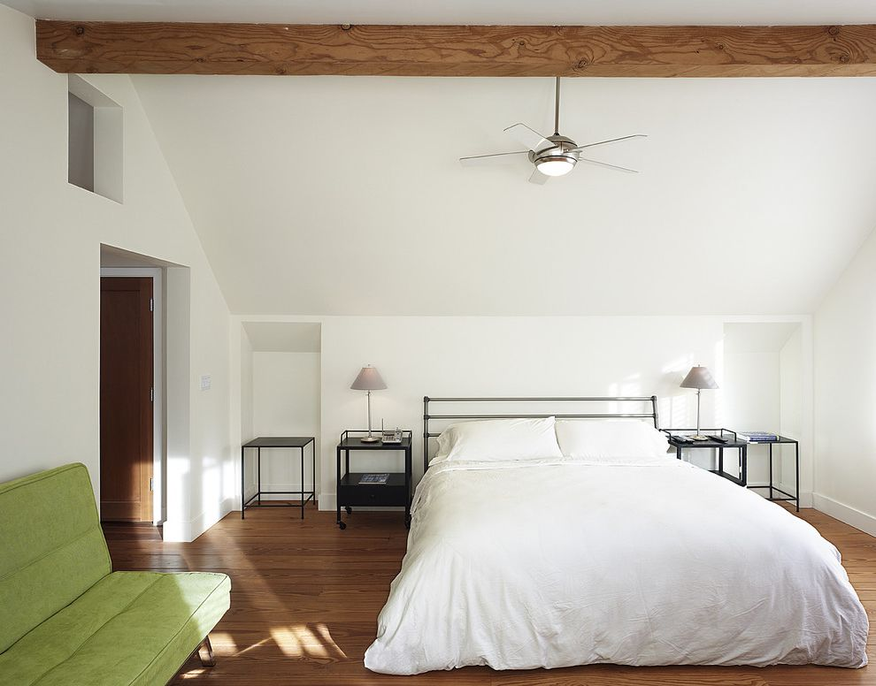 Ceiling Fan with Drum Light with Contemporary Bedroom  and Alcove Bedside Table Ceiling Fan Ceiling Light Exposed Beams Futon Green Sofa Metal Bed Minimal Sloped Ceiling Suede Sofa Table Lamp Timber Vaulted Ceiling White Bedding Wood Flooring