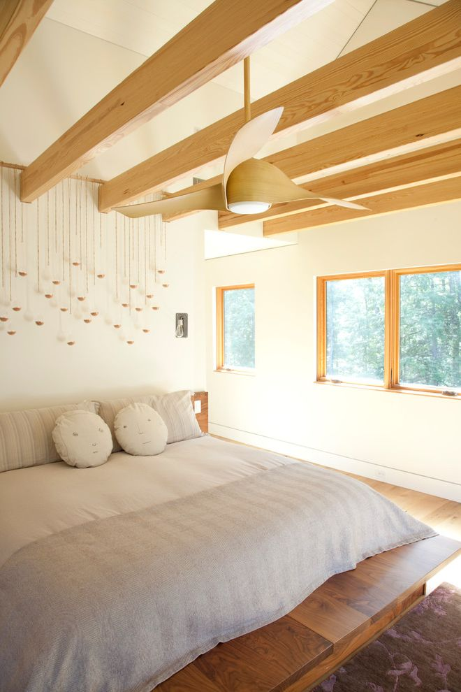Ceiling Fan with Palm Leaf Blades   Contemporary Bedroom Also Beams Bed Bedroom Cathedral Ceiling Ceiling Face Pillow Fan Master Platform Sloped Ceiling Wood Wood Ceiling Fan Wood Platform Bed Wood Trim