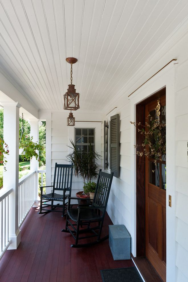 Ceiling Mount Porch Light   Traditional Porch  and Bead Board Beadboard Deck Door Wreath Entrance Entry Front Door Lanterns Mahogany Milk Box Porch Rockers Rocking Chair Shutters Westchester White Window Shutters Wood Railing