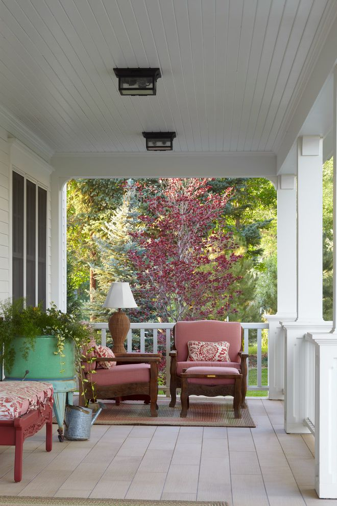 Ceiling Mount Porch Light   Victorian Porch Also Ceiling Lights Outdoor Area Rug Outdoor Furniture Outdoor Lighting Outdoor Living Pink Cushions Red Bench Tongue and Groove Ceiling Traditional Front Porch White Columns White Railing Wood Furniture