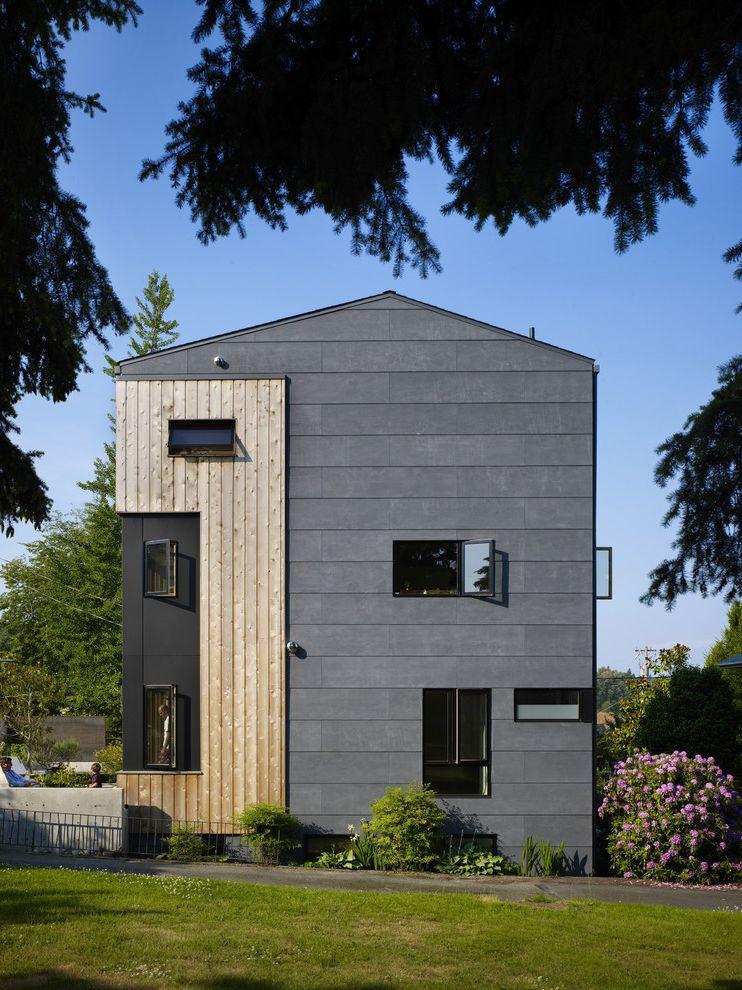 Cement Fiberboard Siding with Contemporary Exterior Also Casement Windows Cedar Concrete Garden Wall Fence Fiber Cement Grass Knotty Pine Landscaping Lawn Steel Vertical Planks Yard
