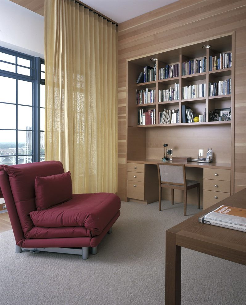 Chair Bed Sleeper Ikea   Contemporary Home Office  and Bedroom Office Black Window Frame Built in Bookshelves Built in Desk Convertible Chair Dark Red Chair Flat Panel Drawers Multi Purpose Room Sheer Window Treatment Sleeper Chair Urban View