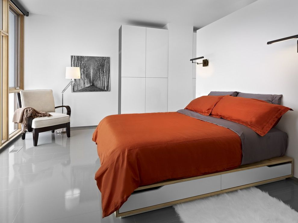 Chair Bed Sleeper Ikea with Modern Bedroom Also Besta Closet Glossy Floor Gray Floor Ikea Minimal Platform Bed Reading Lamp Red Bedding Under Bed Storage