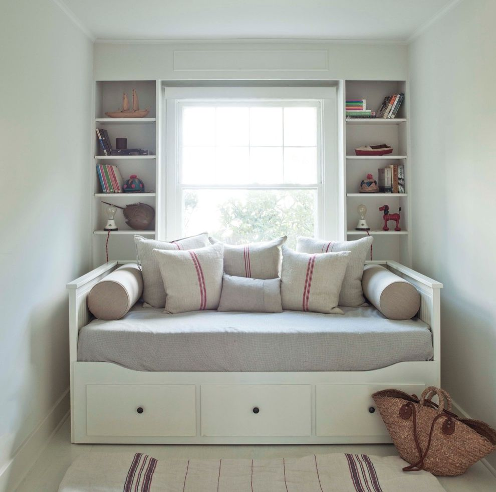 Chair Bed Sleeper Ikea with Modern Bedroom  and Bolsters Books Built in Shelves Burlap Cottage Day Bed Double Hung Windows Flat Weave Rug Niche Open Shelving Pillows Red Stripe Toys Under Bed Drawers White Floor White Walls Wicker Purse