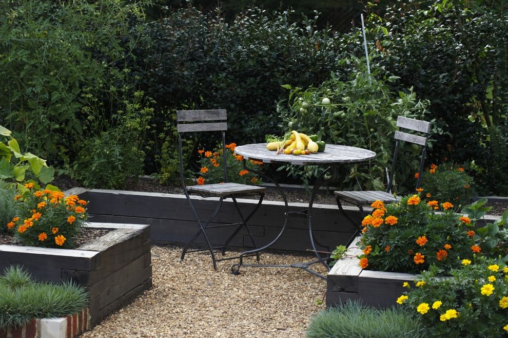 Chair Bed Sleeper Ikea with Traditional Landscape Also Cafe Chairs Edible Garden Gravel Path Outdoor Dining Patio Furniture Prange Flowers Raised Beds Vegetable Garden Vegetables Veggie Garden Wood Beds