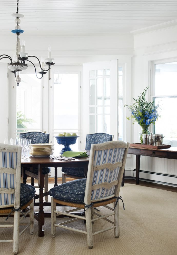 Chair Pads for Kitchen Chairs   Beach Style Dining Room Also Beach Style Blue Cushions Chair Cushions Chandelier Coastal Distressed Dining Chairs French Doors Paneled Ceiling Sideboard Wood Dining Table