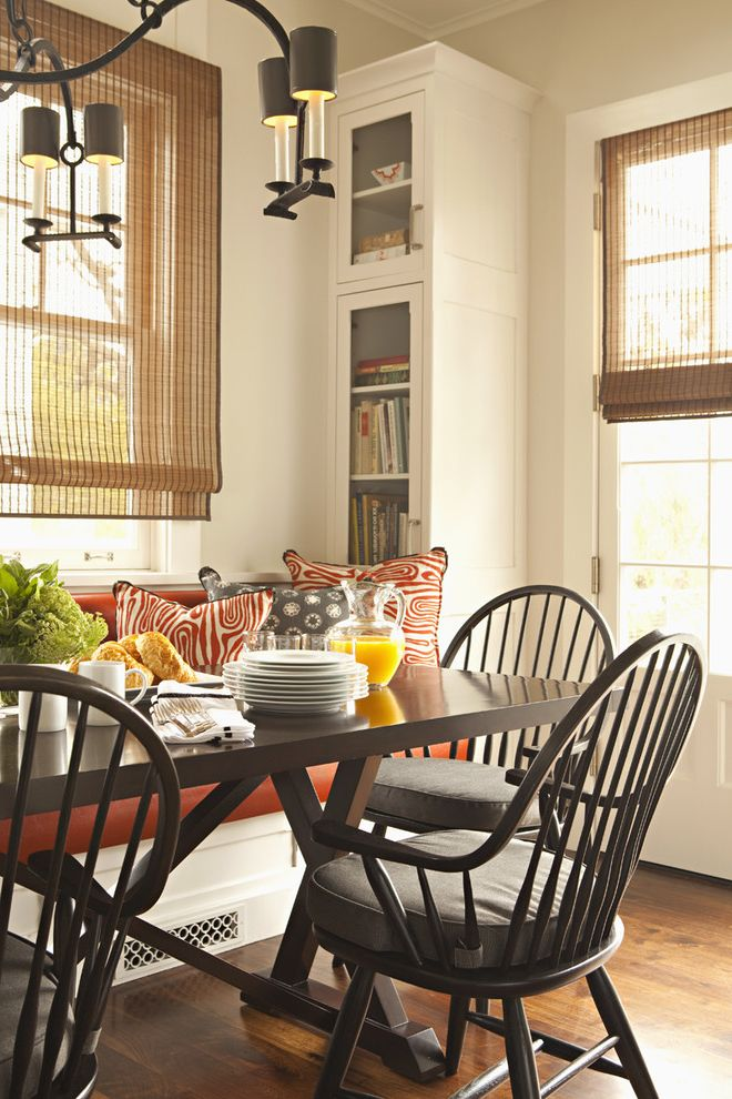 Chair Pads for Kitchen Chairs with Transitional Dining Room  and Banquette Breakfast Nook Country Kitchen Glass Front Cabinets White Wood Window Seat Windsor Chairs Wood Flooring Wood Molding
