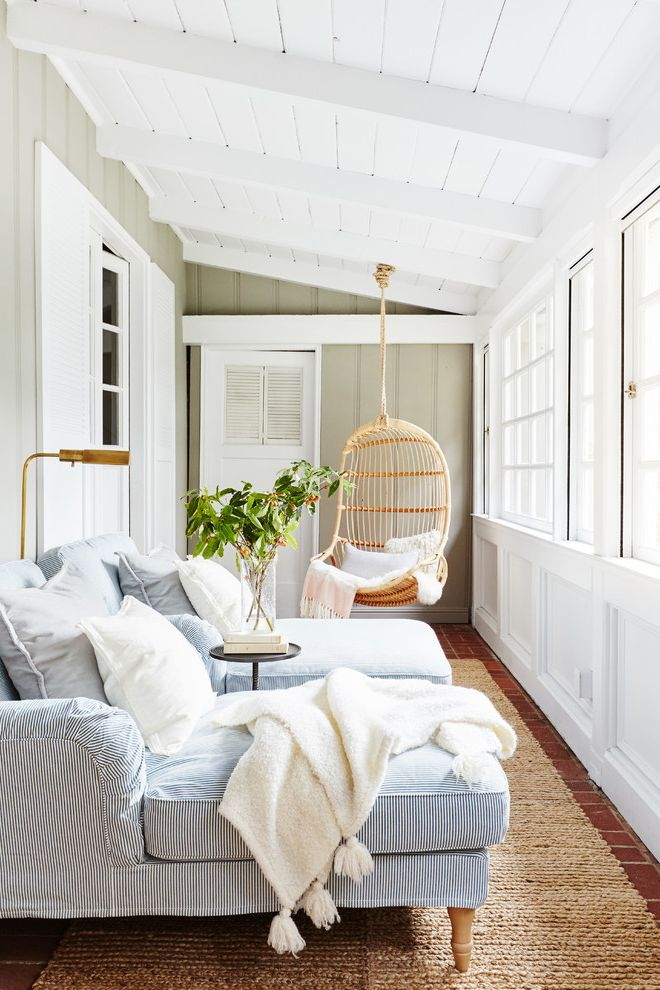 Chaise Definition with Beach Style Sunroom  and Airy Blue and White Chaise Exposed Beams Hanging Chair Natural Light Sloped Ceiling
