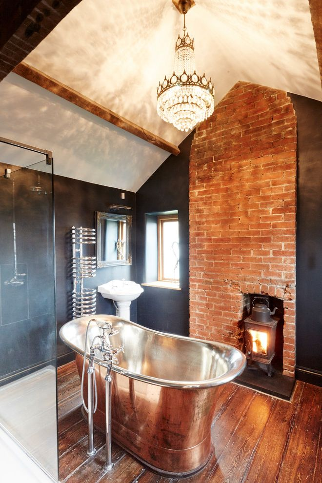 Chandelier Definition with Farmhouse Bathroom  and Antique Floor Antiques Chandelier Contemporary Design Copper Copper Bath Cottage Dark Wood Exposed Brick Exposed Wooden Beam Floor Mounted Tub Filler Pendant Chandelier Vaulted Ceiling Wood Floors