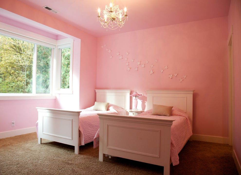 Chandelier for Girl Bedroom   Transitional Kids  and Baseboards Bedroom Chandelier Girls Bedroom Painted Ceiling Pink Pink Walls Shared Bedroom Twin Beds Wall Decor White Beds White Wood Wood Molding