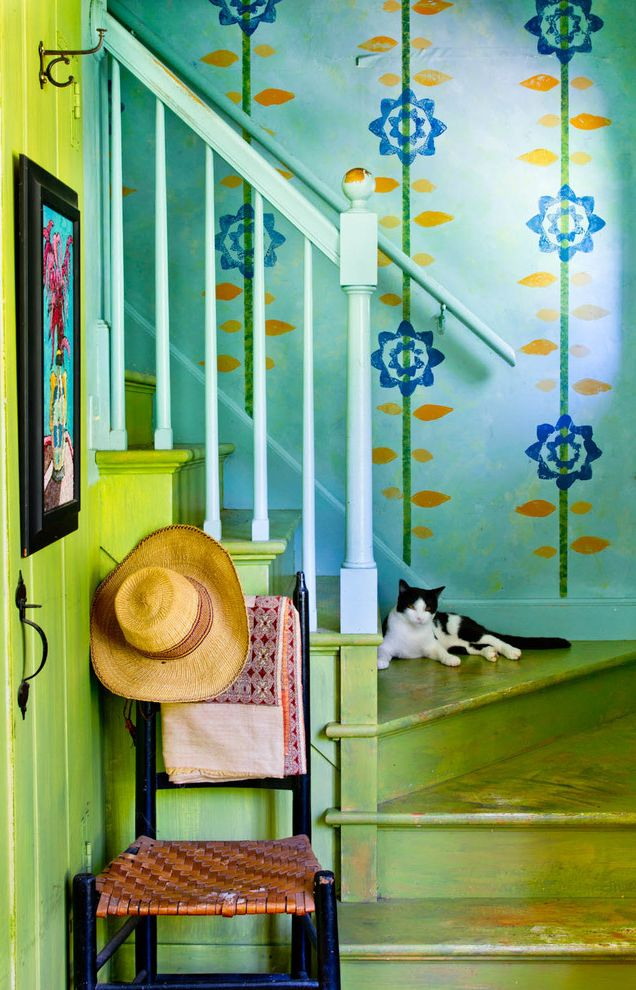 Charleston Homes Omaha with Farmhouse Staircase Also Antique Blue Patterned Wall Blue Staircase Bannister Blue Wall Floral Patten Lime Green Staircase Lime Green Wall Rustic Rustic Staircase Worn Staircase