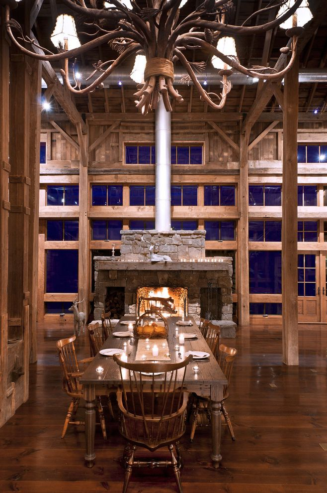 Chase Bank Boise   Farmhouse Dining Room Also Barn Chandelier Chimney Dining Exposed Beams Fireplace Flu Mantel Posts Rafters Rustic Stone Windows Wood Floor