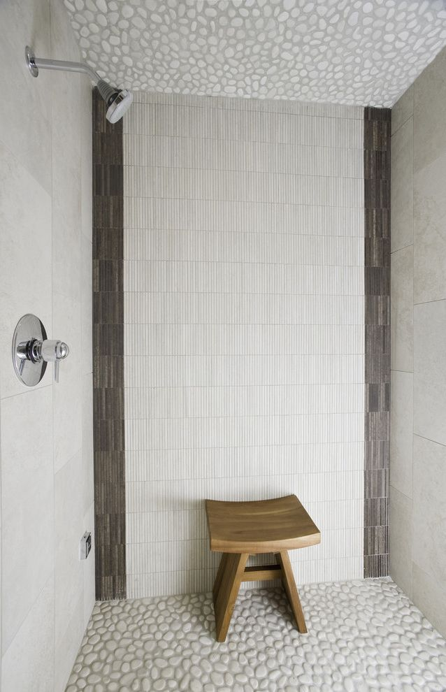 Chase Bank Boise with Contemporary Bathroom Also Aggregate Floor Natural Colors Shower Bench Shower Enclosure Shower Stall Stone Ceiling Stone Floor Stool Tile Walls Vertical Tiles