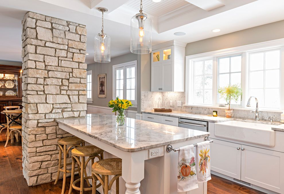 Chase Bank Boise with Farmhouse Kitchen Also Backless Bar Stools Beamed Ceiling Farm Sink Glass Pendants Kohler Sink Stone Wall White Countertop White Wainscoting