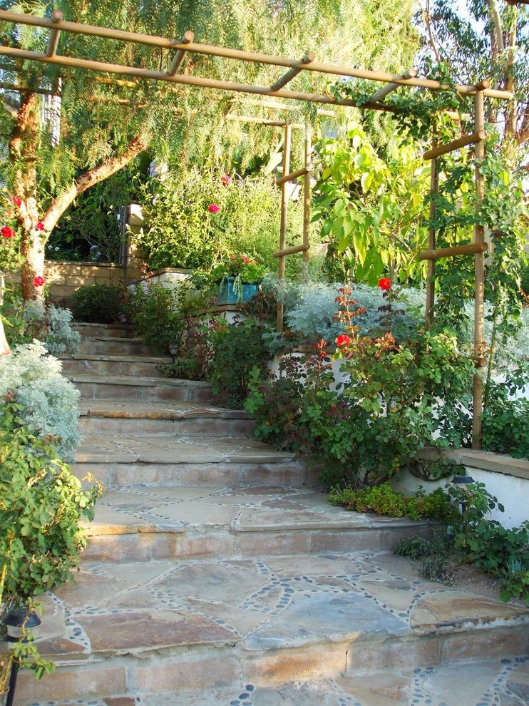 Chase Bank Boise with Mediterranean Landscape Also Arbor Flagstone Path Pepper Tree River Rock Roses Stone Steps Terraced Walkway