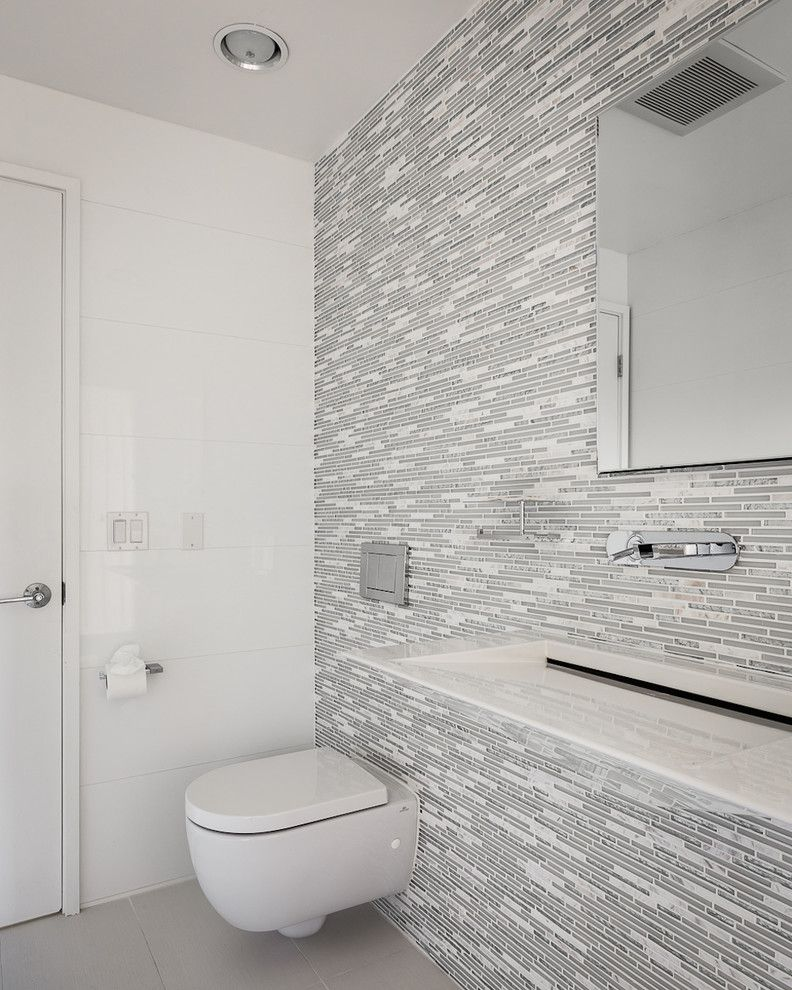 Chase Palo Alto   Contemporary Bathroom Also Accent Wall Frameless Mirror Gray and White Tile Gray Floor Tile Liling Lampell Mosaic Tile Palo Alto Palo Alto Interior Design Palo Alto Interior Designer Recessed Lighting Trough Sink Wall Mounted Faucet
