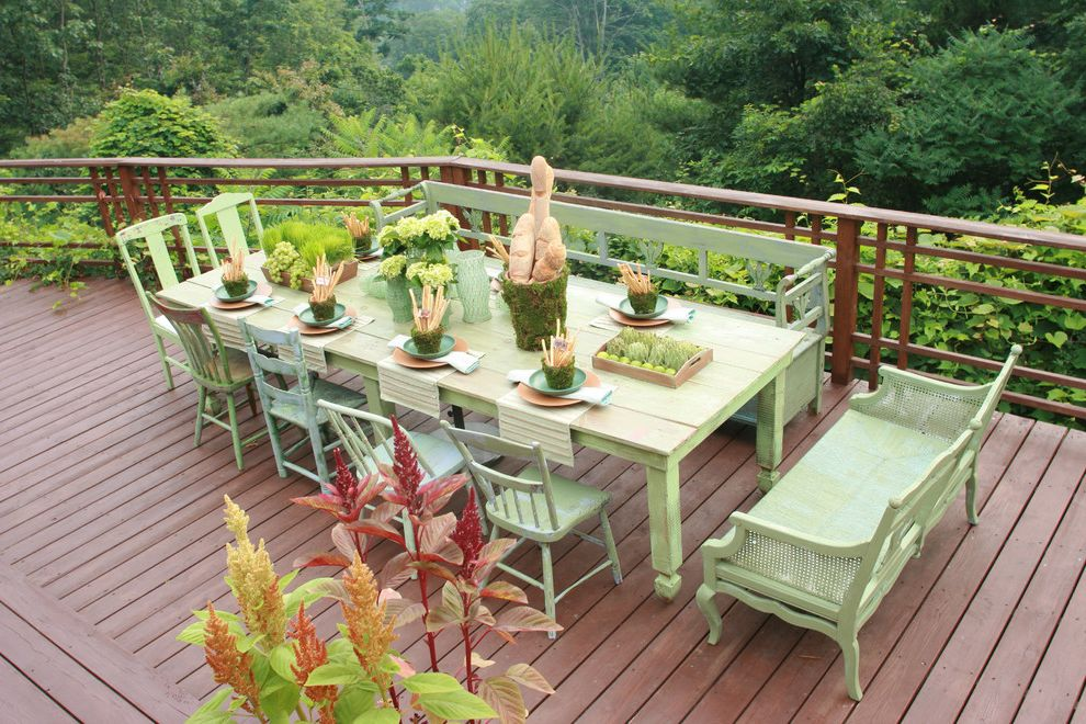Chattanooga Furniture Bank with Rustic Deck  and Centerpiece Deck Farmhouse Table Handrail Outdoor Dining Patio Furniture Rustic Table Setting Terrace Wood Furniture Wood Railing