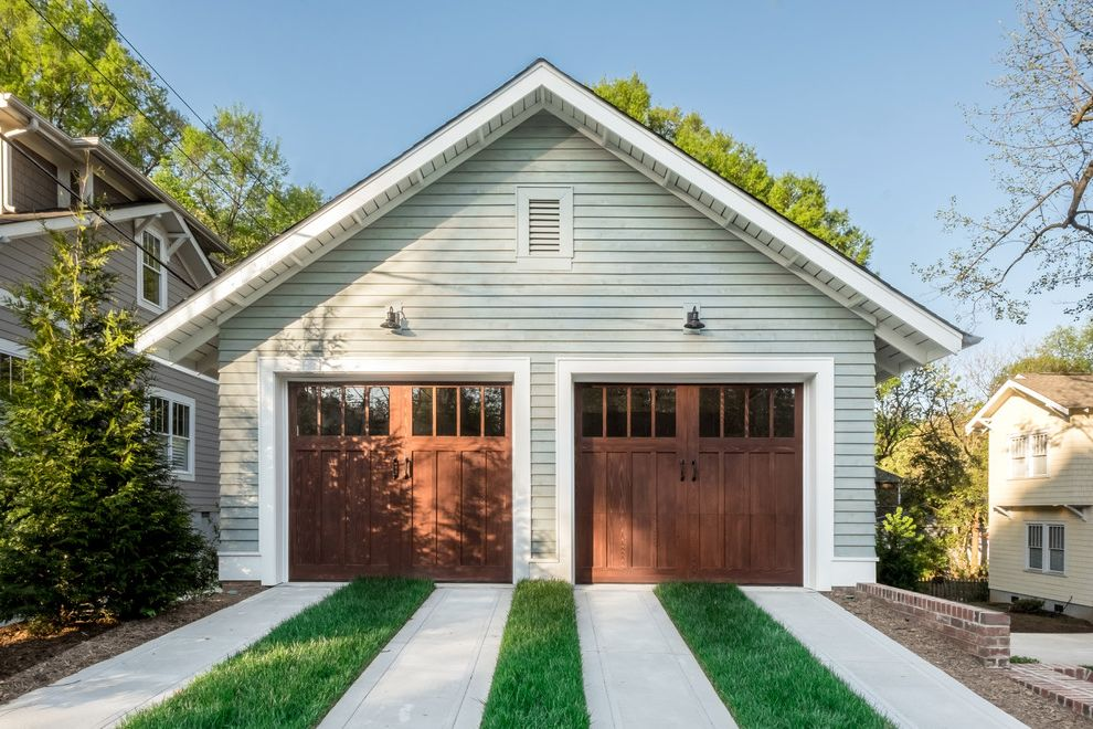 Chattanooga Garage Door   Craftsman Garage Also Barn Lights Detached Garage Gable Roof Ribbon Driveway Two Garage Doors