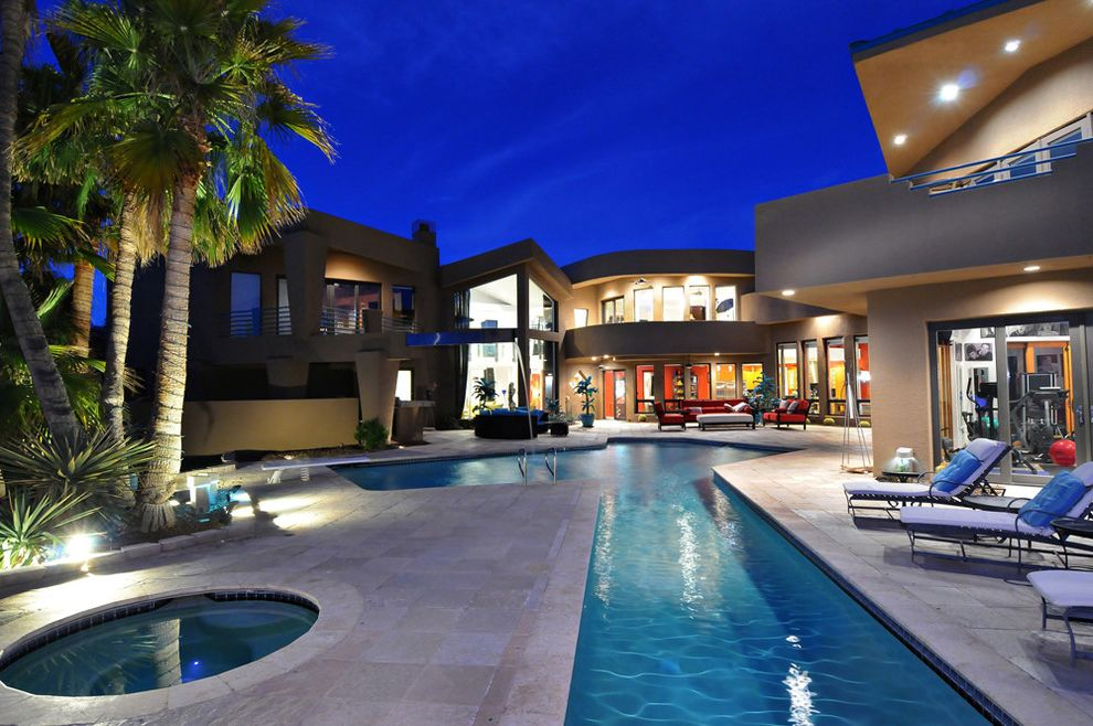 Chavez Roofing   Contemporary Patio Also Arizona Architecture Cantilevers Contemporary Contemporary Design Courtyard Lap Pool Modern Pool Deck