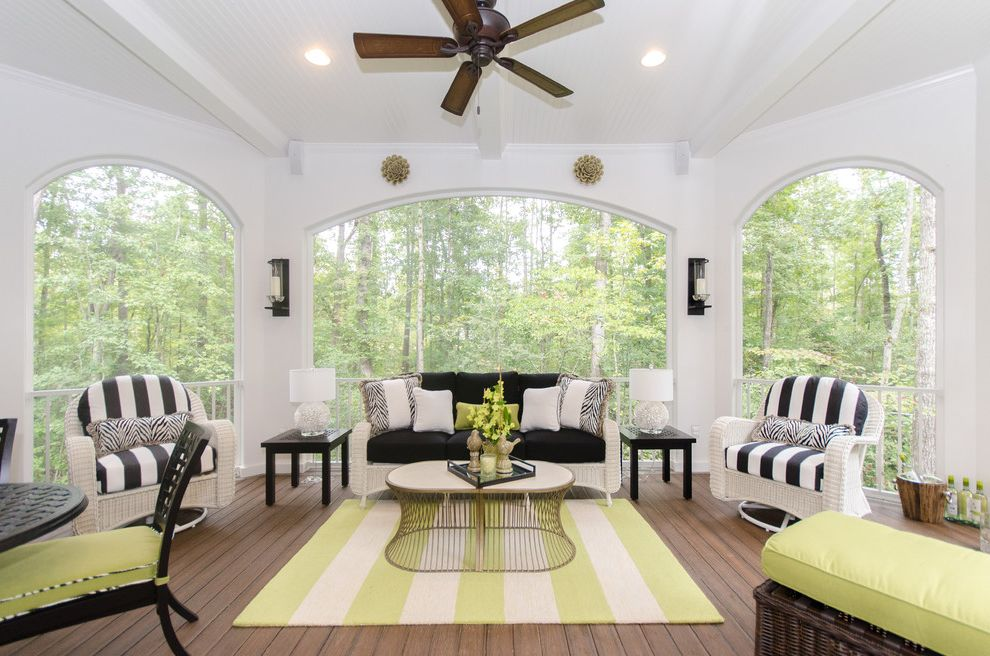 Chavez Roofing   Traditional Porch Also Arches Black and White Ceiling Fan Green Accents Indoor Outdoor White Wicker Wicker Furniture