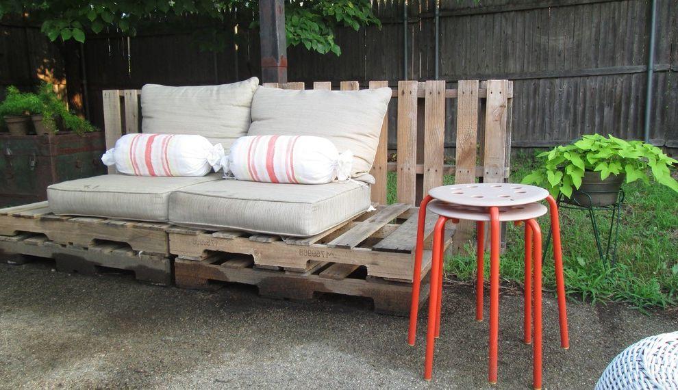 Cheap Backyard Furniture   Eclectic Patio  and Backyard Orange Stools Outdoor Furniture Pallet Refurbished