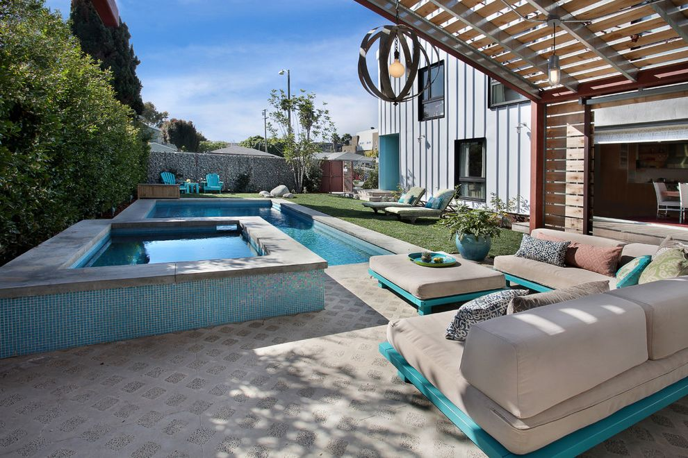 Cheap Backyard Furniture with Contemporary Pool Also Board and Baton Siding Chandelier Concrete Patio Hot Tub Lawn Lounge Chairs Mosaic Tile Outdoor Entertaining Outdoor Seating Pergola Turquoise Wood Slat