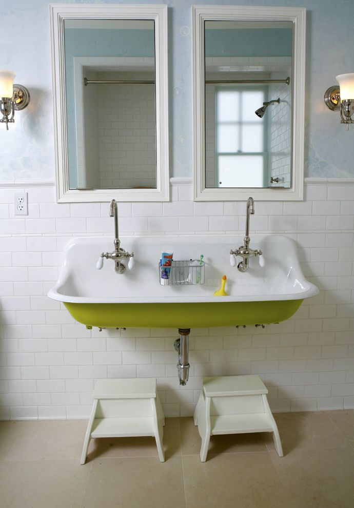 Cheap Faucets for Bathroom   Traditional Bathroom Also Double Faucet Framed Mirrors Kids Sink Lime Green Porcelain Knobs Step Stools Vintage Sink Wall Paper Wall Sconce White Subway Tile