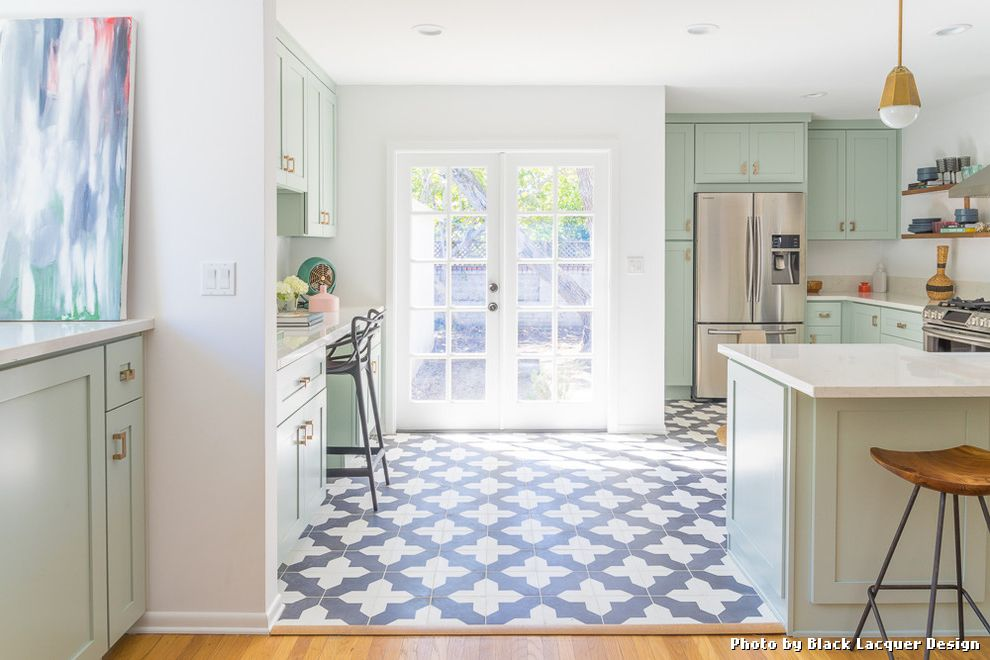 Cheap Kitchen Floor Tiles with Transitional Kitchen and Anthropologie Carrara Counters Cement Tiles Copper Hardware French Doors Gray Cabinets Green Cabinets Kartell Light Green Cabinets Pendants Peninsula Rose Gold Hardware White Kitchen