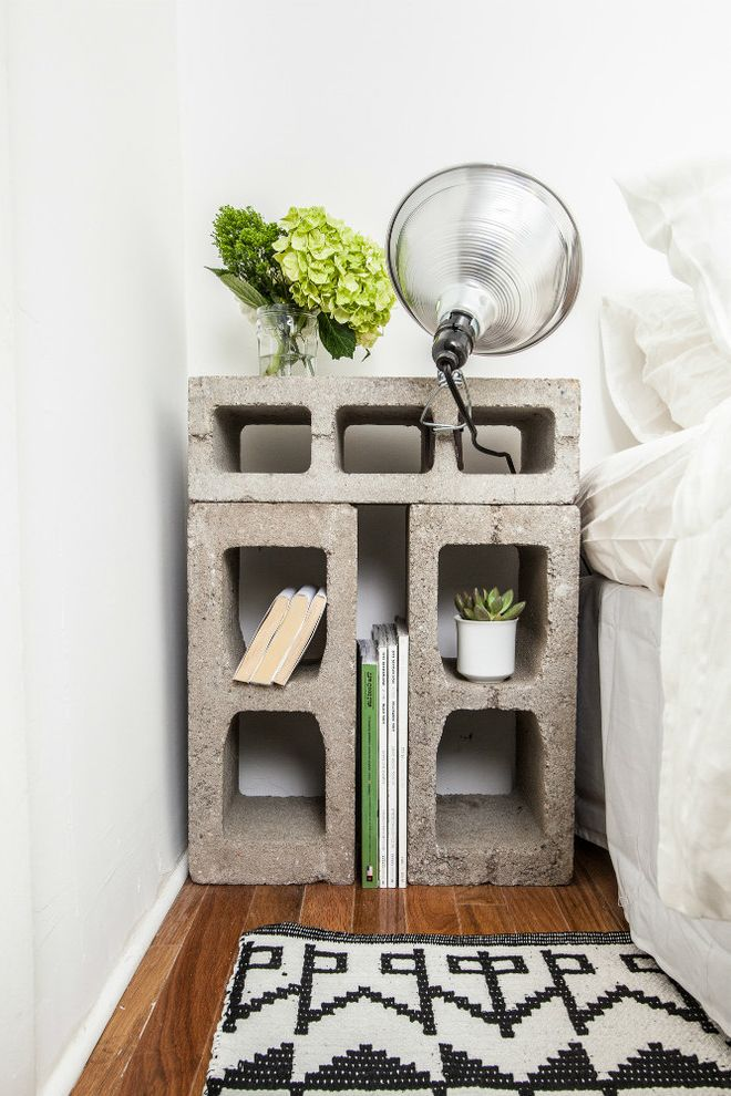 Cheap Nightstand Ideas   Eclectic Spaces  and Aluminium Clamp Lamp Blue Cabinets Cement Tiles Chartreuse Tiles Cinder Blocks Exposed Bricks Mud Cloth Cushion Repurposed Objects Upholstered Dresser Vintage Metal Cabinet Walnut Countertop