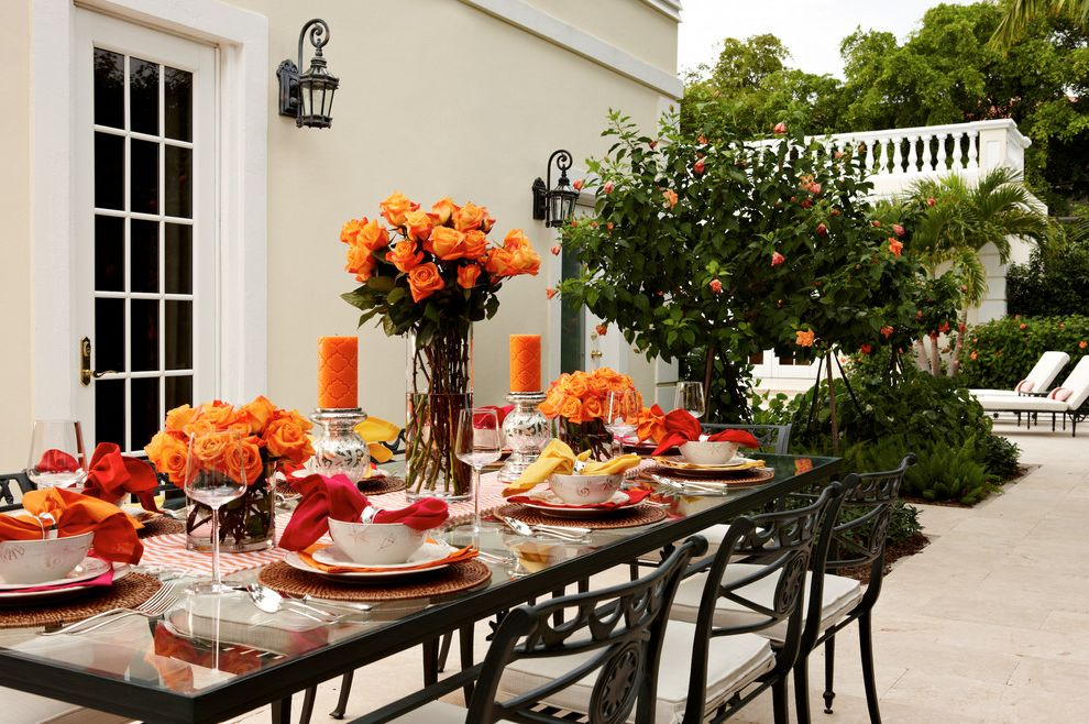 Cheap Patio Table Set   Traditional Patio Also Dinner Set Eating Area Flowers French Doors Garden Glass Table Orange Accents Orange Roses Outdoor Patio Plants Silverware Tile Floor Warm Palette Warm Table Setting White Chairs White Trim